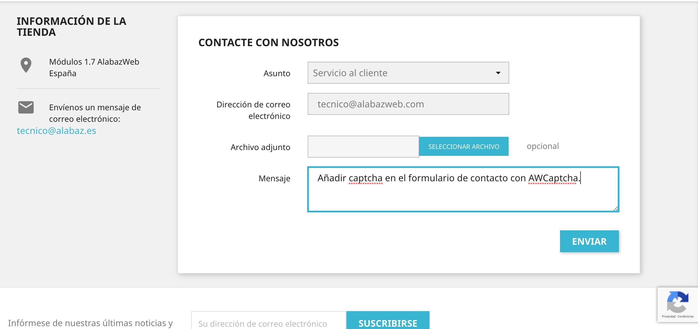 icono de captcha en el formulario de contacto para evitar spam