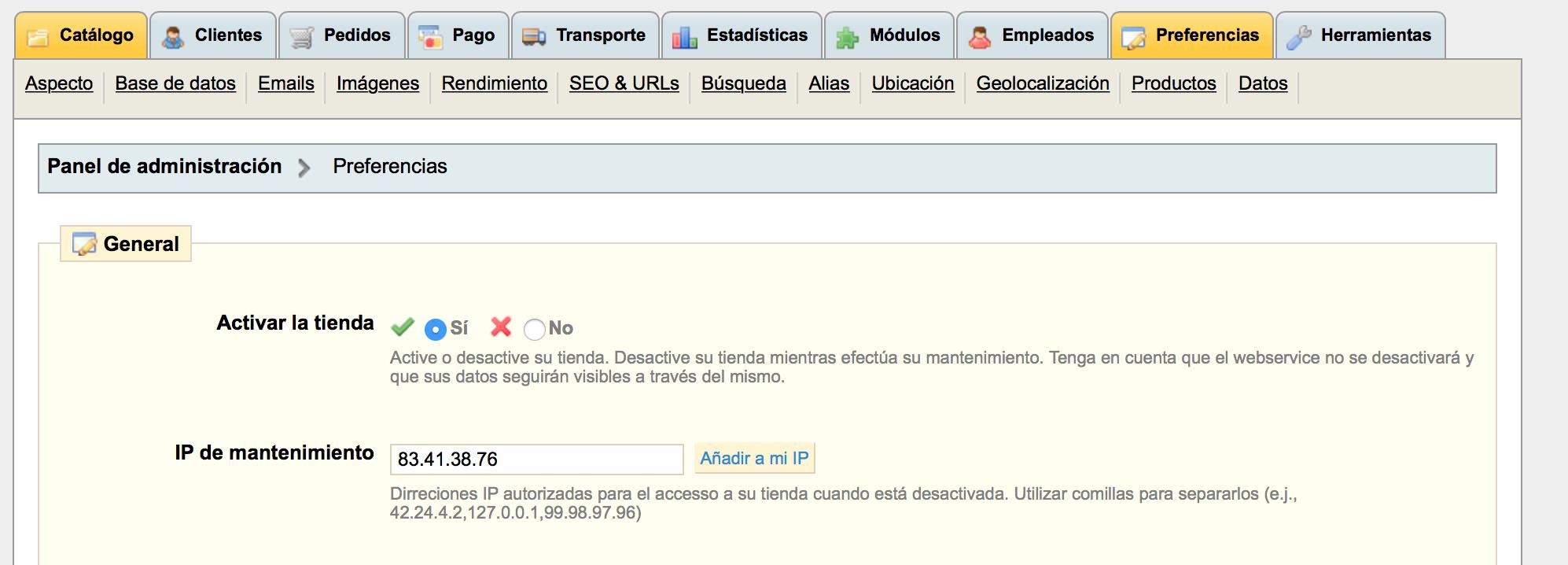 opcion de activar ip a la que se permite ver pagina en mantenimiento prestashop 1.4