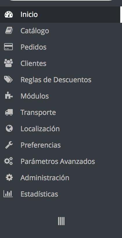 el menu de prestashop 1.6 tiene mas opciones y elementos