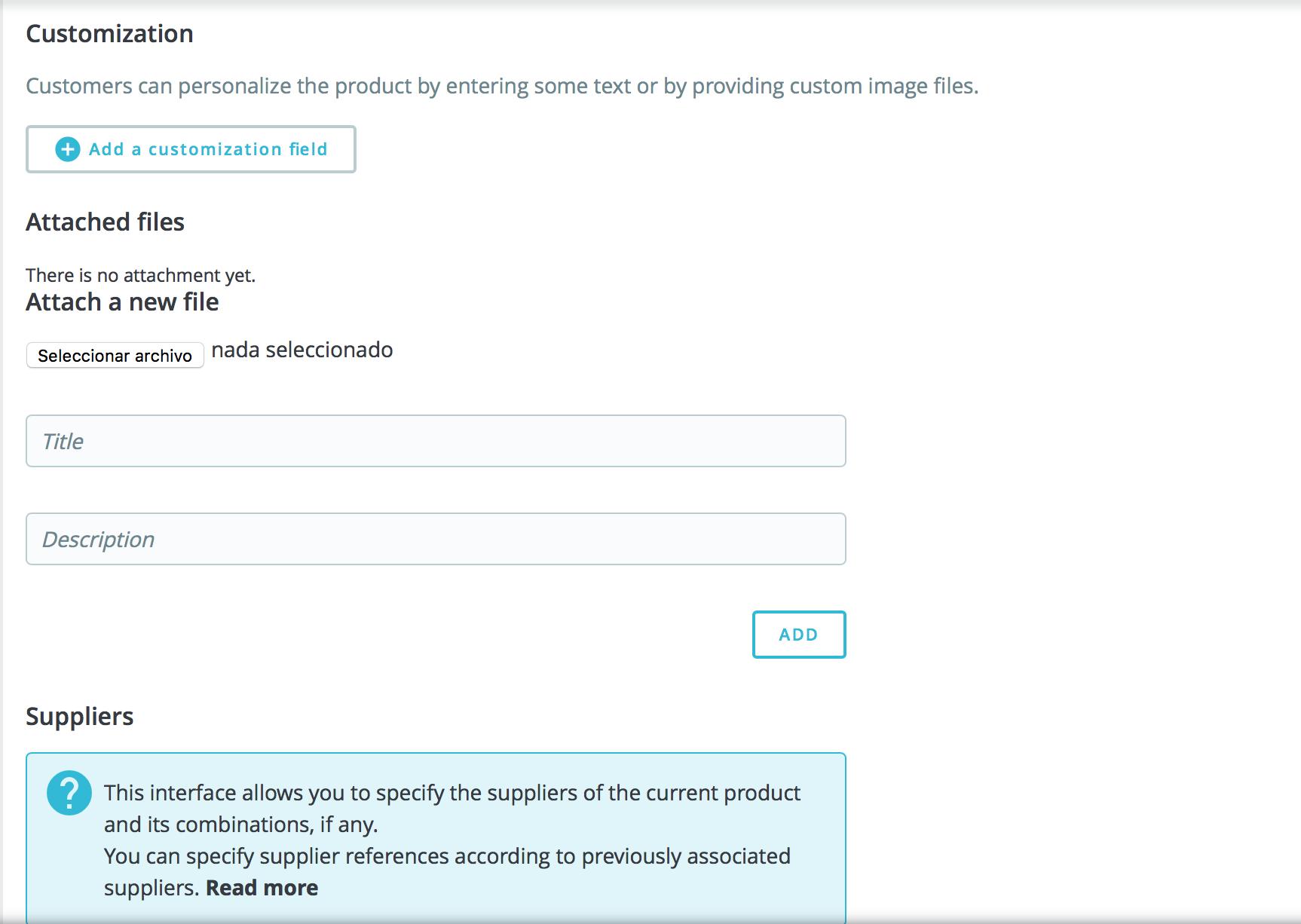 configura visibilidad, etiquetas, referencias, personalización del producto, archivos adjuntos y proveedores