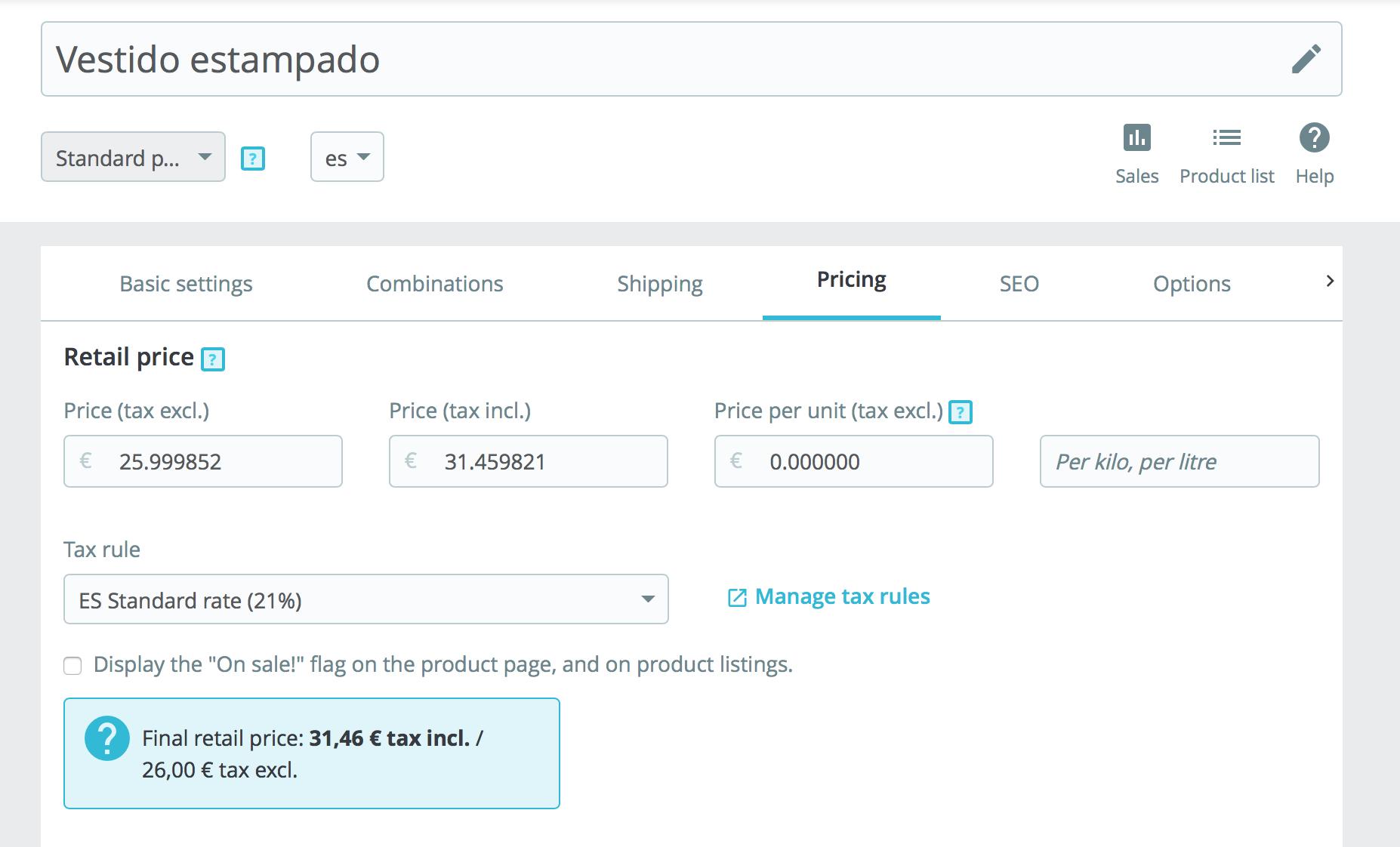Se configura aqui precios, reglas de impuestos, precios específicos y prioridades en las reglas de precios