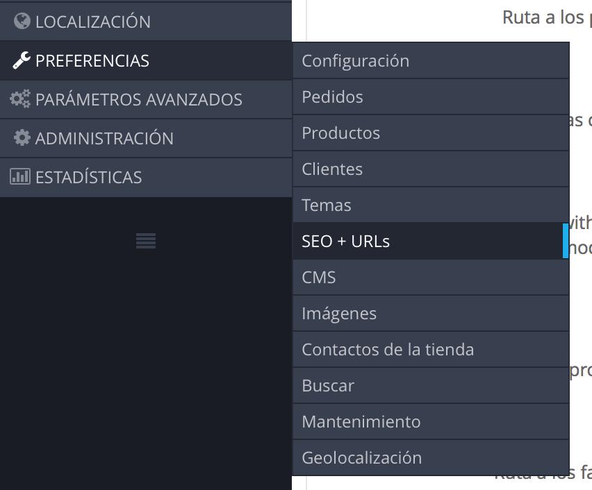 Configuracion del formato de la url desde prestashop