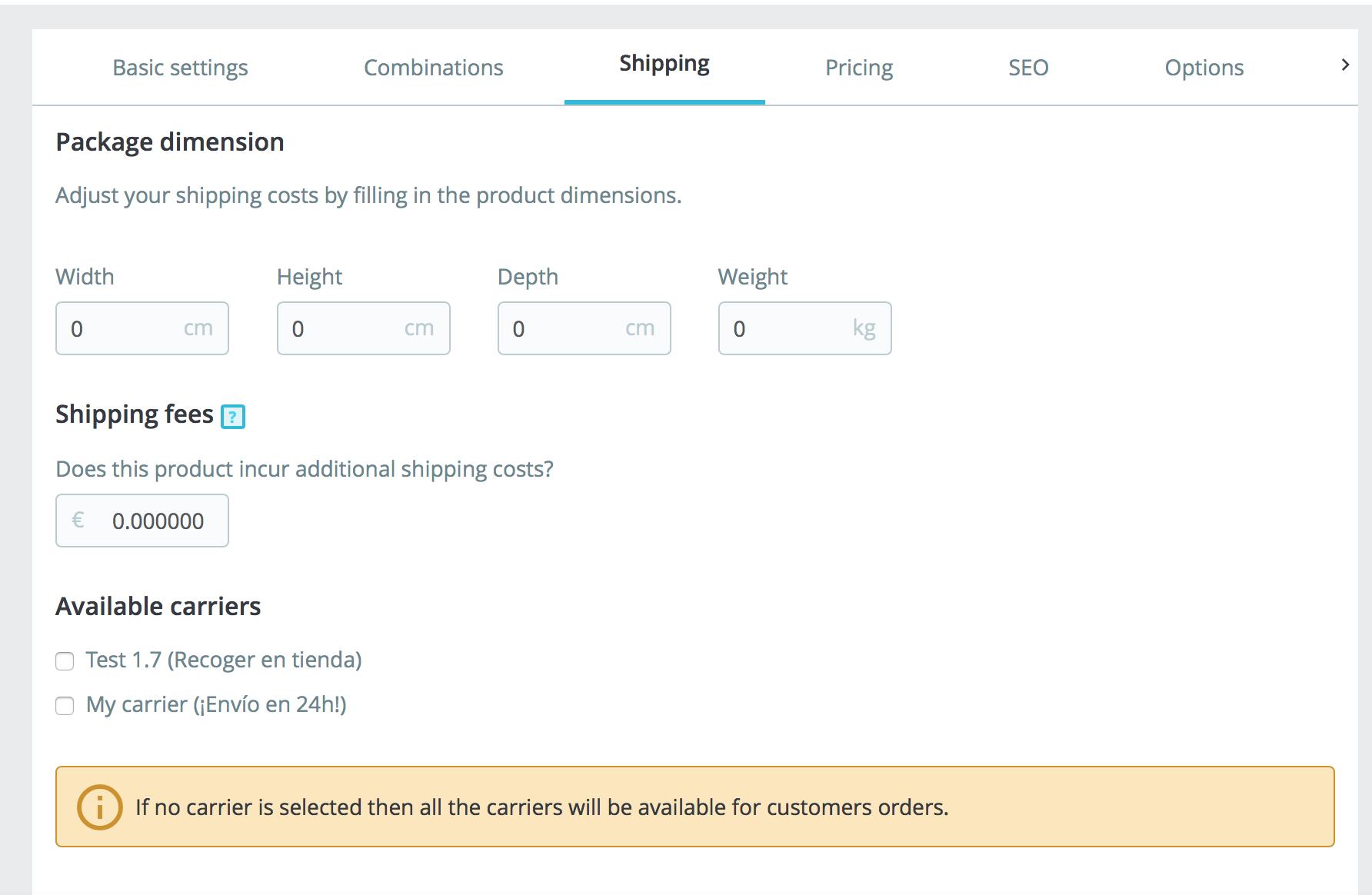 permite configurar transportistas,  tasas y dimensiones del paquete