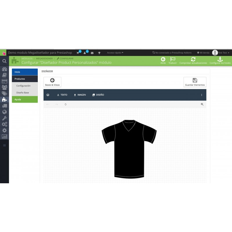 Módulo diseñador de productos para PrestaShop