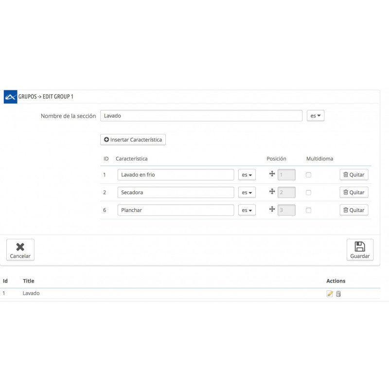 Module to add groups of characteristics to those products from your shop PrestaShop