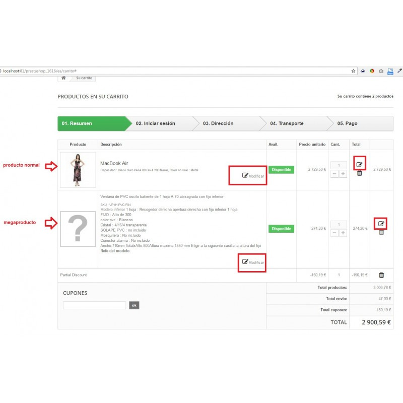 Management of combinations in the checkout module for PrestaShop