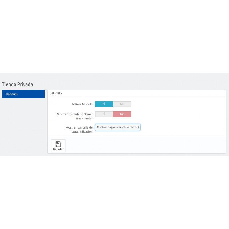 Configuracion modulo tienda privada para PrestaShop