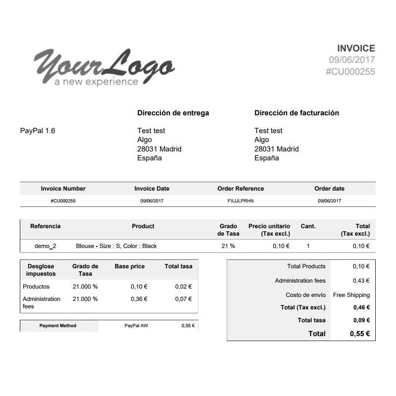 Factura desglosada modulo Paypal con recargo para Prestashop 1.6