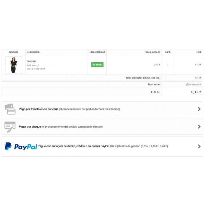 detalle recargo modulo Paypal con recargo para Prestashop 1.6