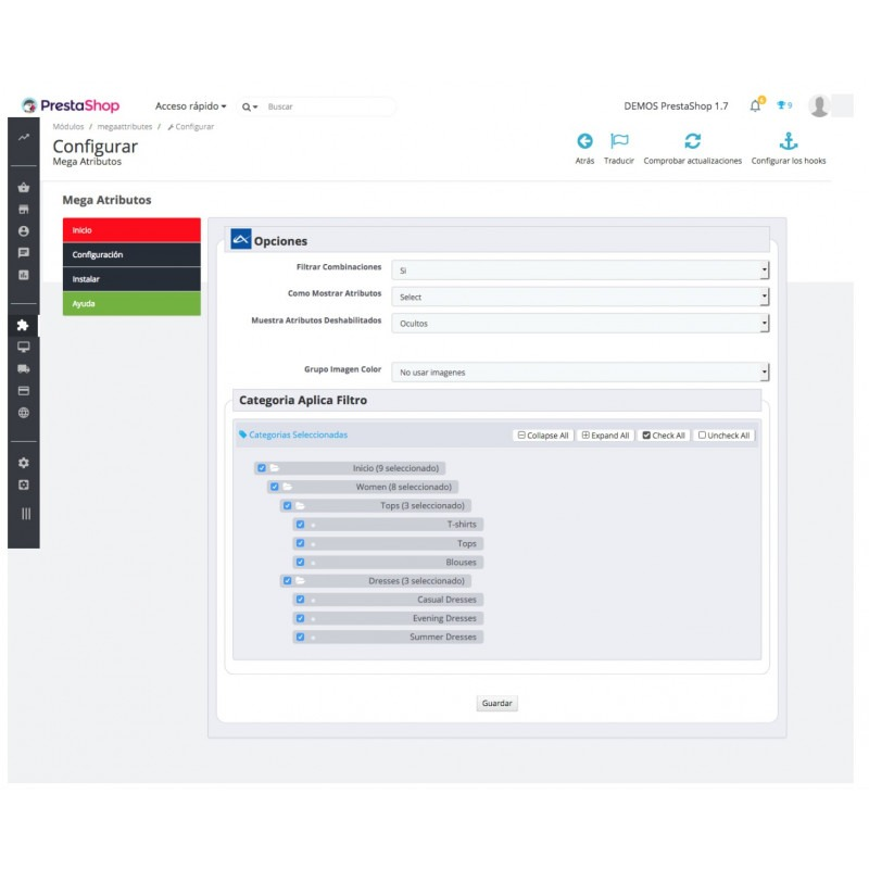 Modulo per migliorare la visualizzazione degli attributi in Prestashop