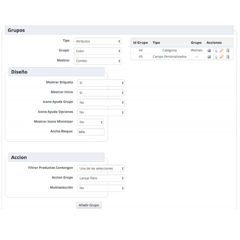 Search filters module