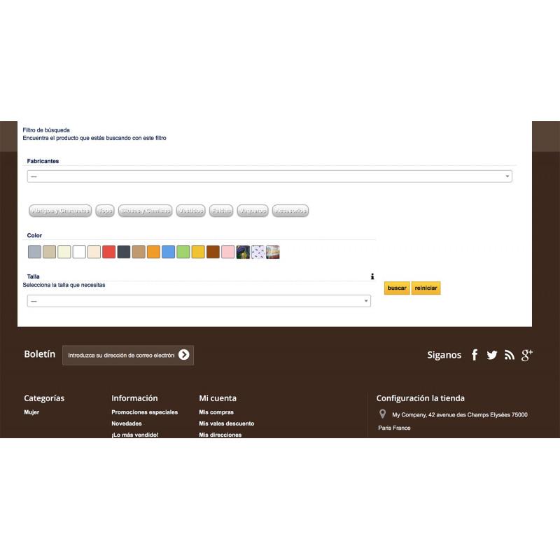 Modulo di filtri di ricerca