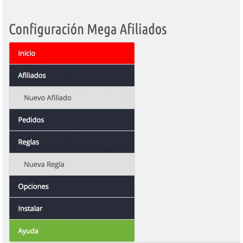 Módulo afiliados en Prestashop: menu general de configuration
