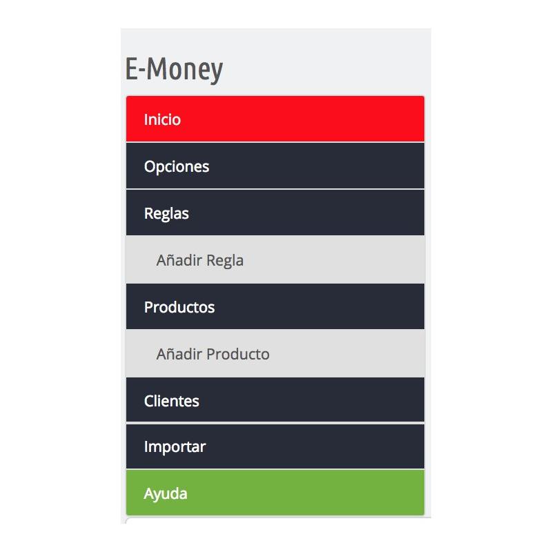 emoney: menu de configuracion