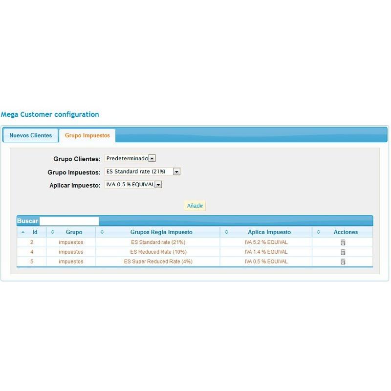 Módulo que permite realizar recargos de equivalencia a ciertos grupos de clientes