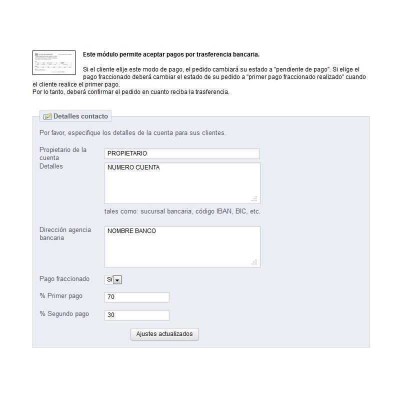 Módulo de pago anticipado: Configuración cuenta bancaria - Prestashop