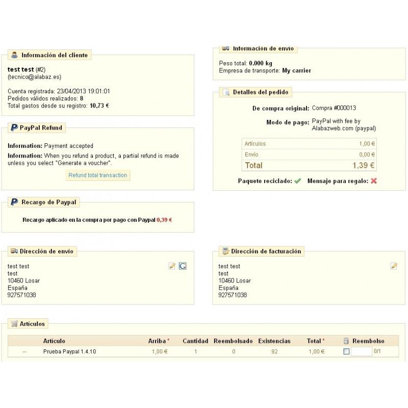 Module paiement paypal surtaxe pour prestashop 1 4 - Paiement paypal frais ...