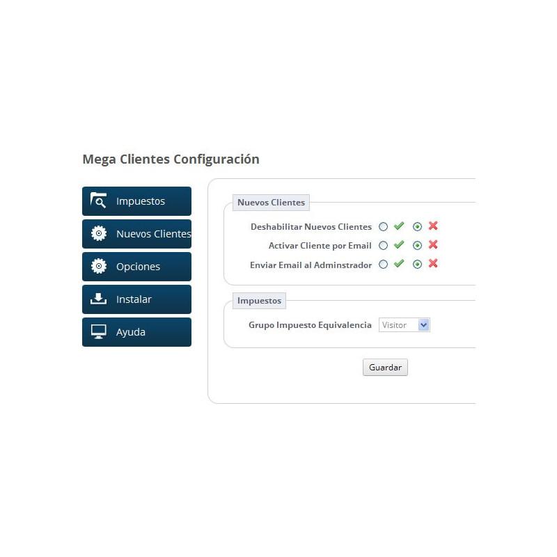 Módulo para aplicar el recargo de equivalencia correspondiente: Nuevos Clientes