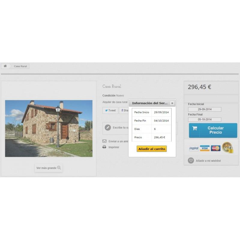 Módulo Megaservices para Prestashop: Reserva de casas rurales