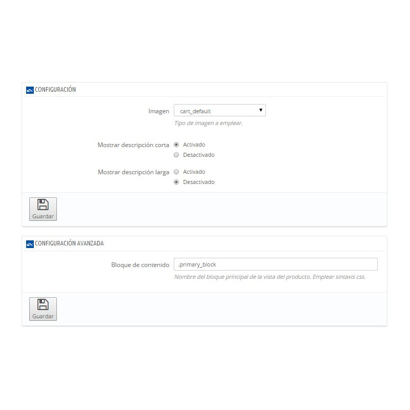 Módulo para mejorar la usabilidad del detalle del producto