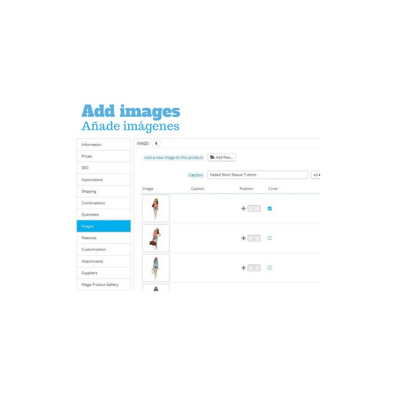 Módulo de galerías de imágenes y vídeos para productos