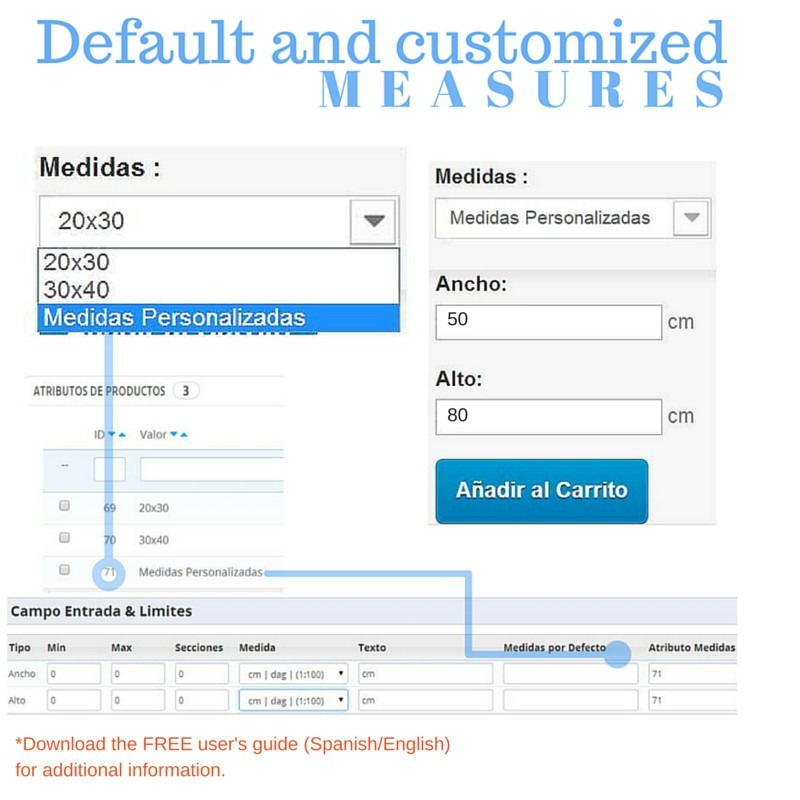 Módulo Megaproduct: Medidas Personalizadas y por defecto - Prestashop