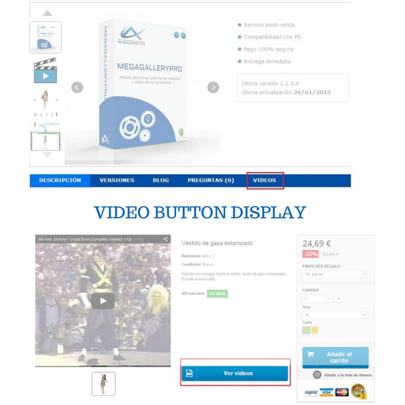 Videos and images module for Prestashop