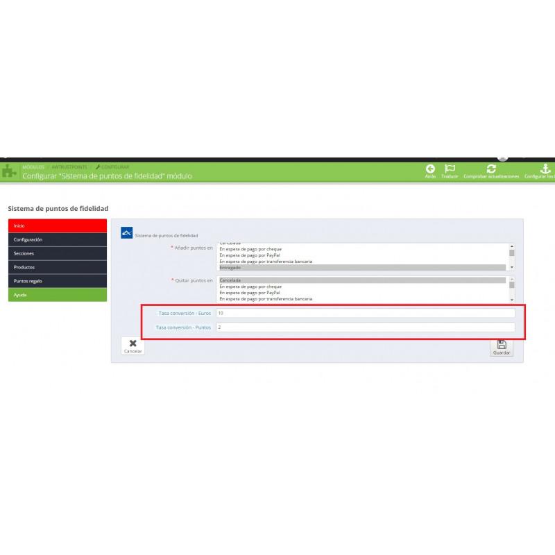 Fidelidade para PrestaShop módulo do catálogo de pontos