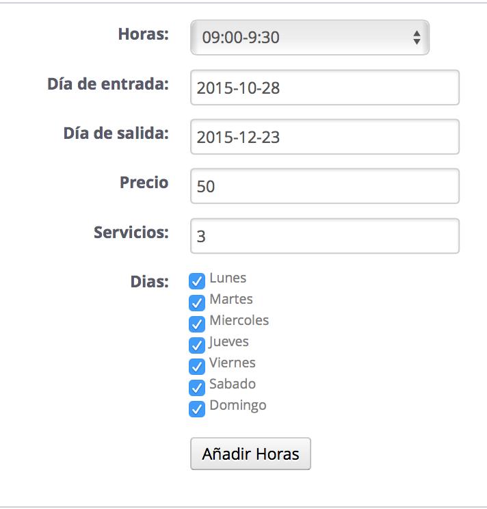 Configuración de la disponibilidad por horas en MegaServices
