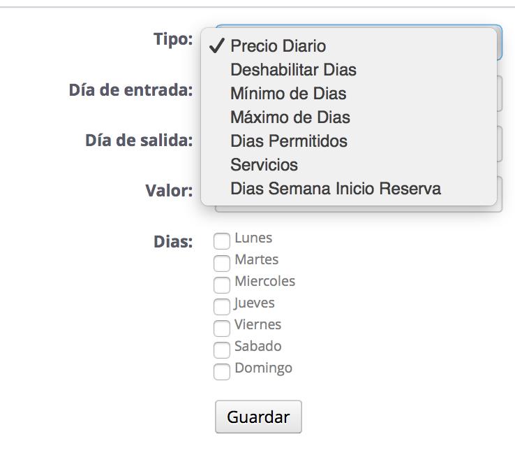 Opciones de configuracion de días en Megaservices