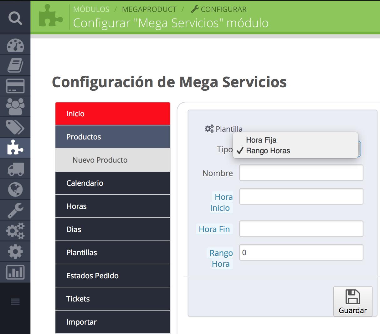 Configuración de horas en MEgaservices