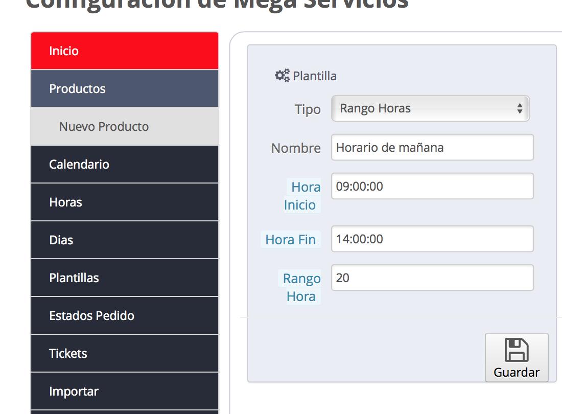 Configuracion rango horas megaservices