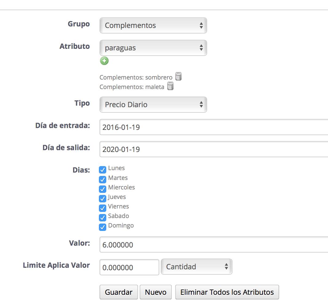 configuracion Atributo complemntos