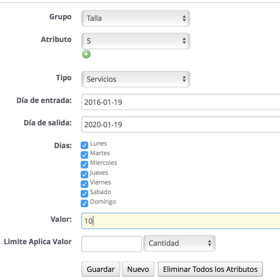 Configuracion atributos servicios
