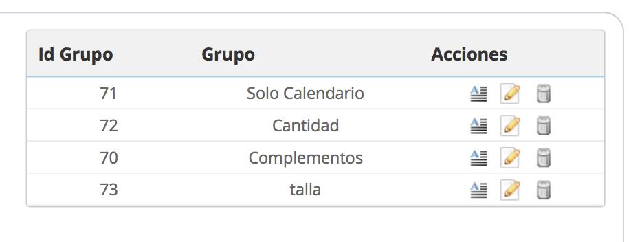 tabla grupos orden