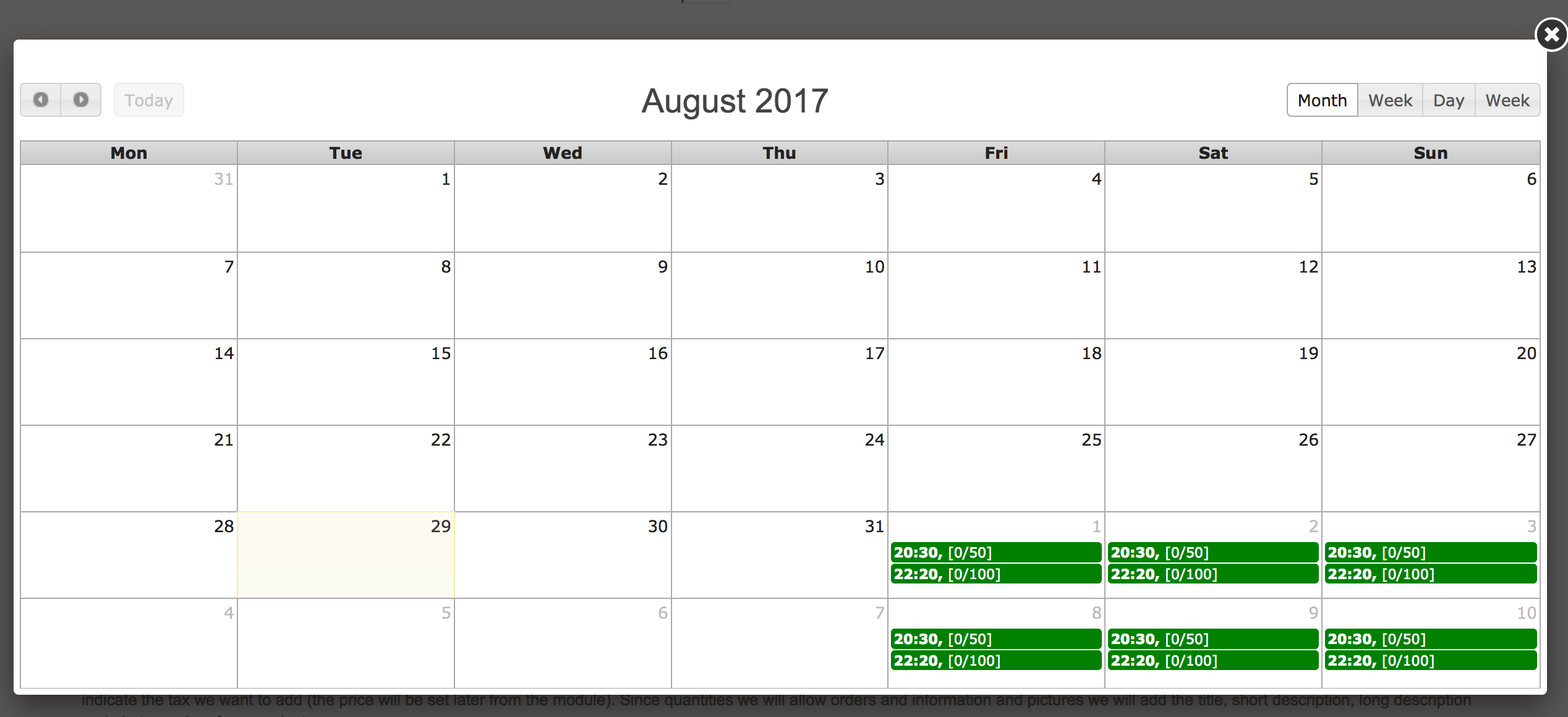 Availability calendar in front office booking form