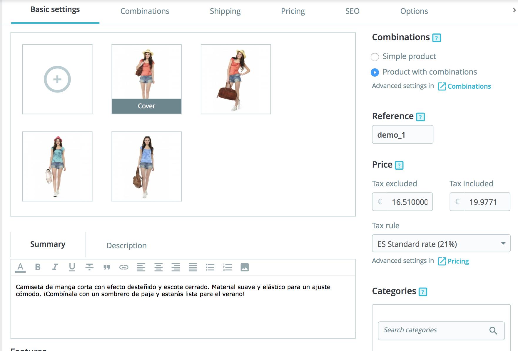 incluye las opciones de imagen,  precio, impuestos, categorías, descripción corta y larga