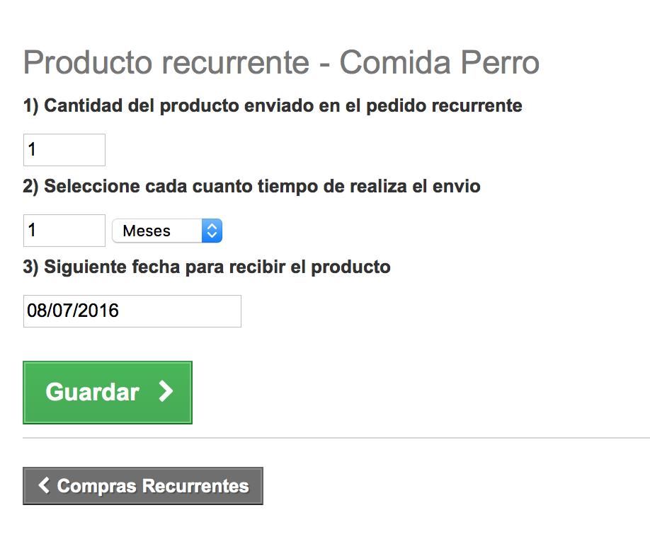 El cliente podra modificar la recurrencia de un producto