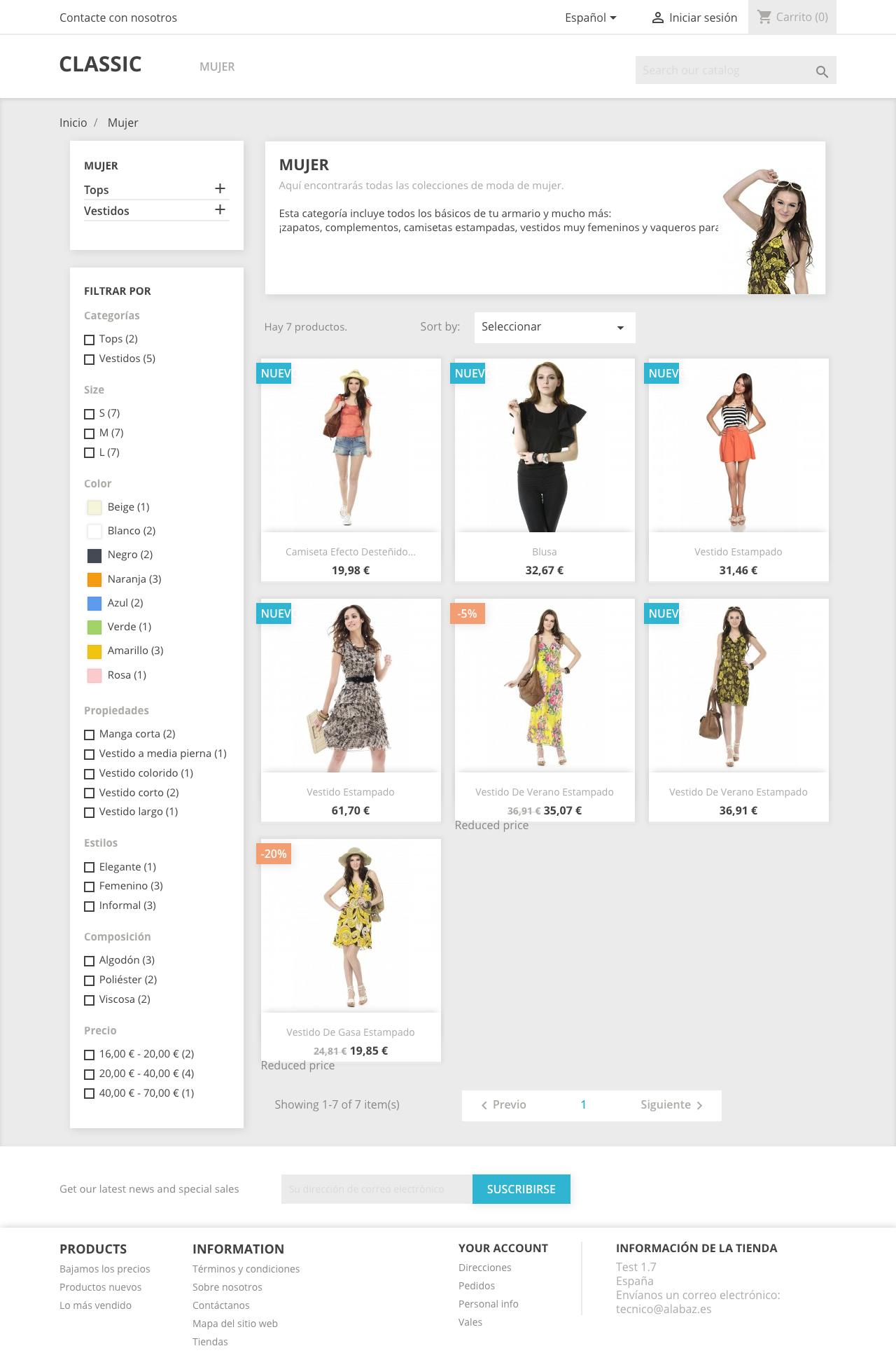 La pagina de categorias es más moderna en PS 1.7