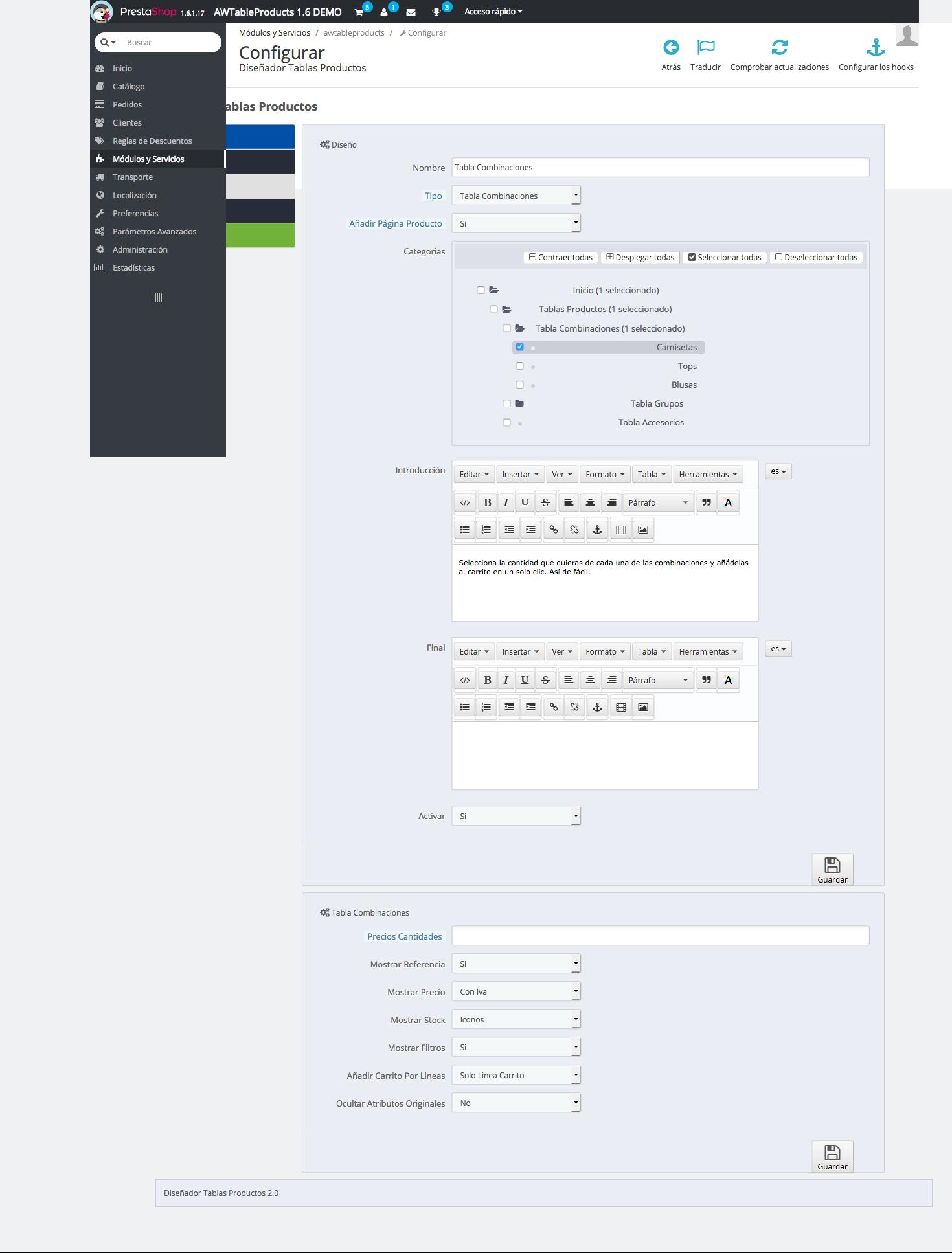 opciones de configuracion para tabla de tipo combinaciones