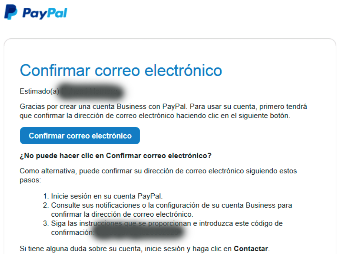 confirm your email address to create a paypal account