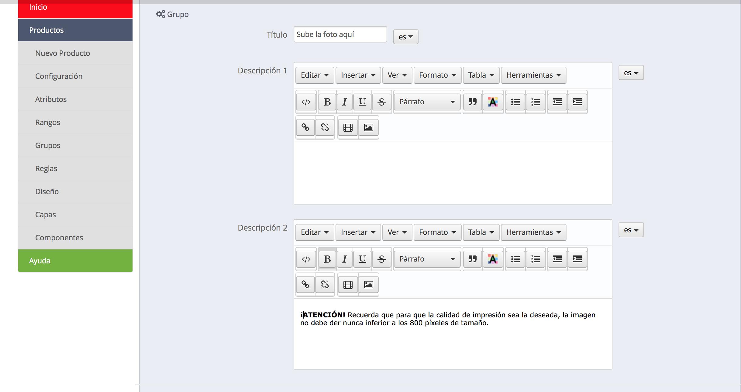 Añadir descripción de la ayuda tooltip en un grupo