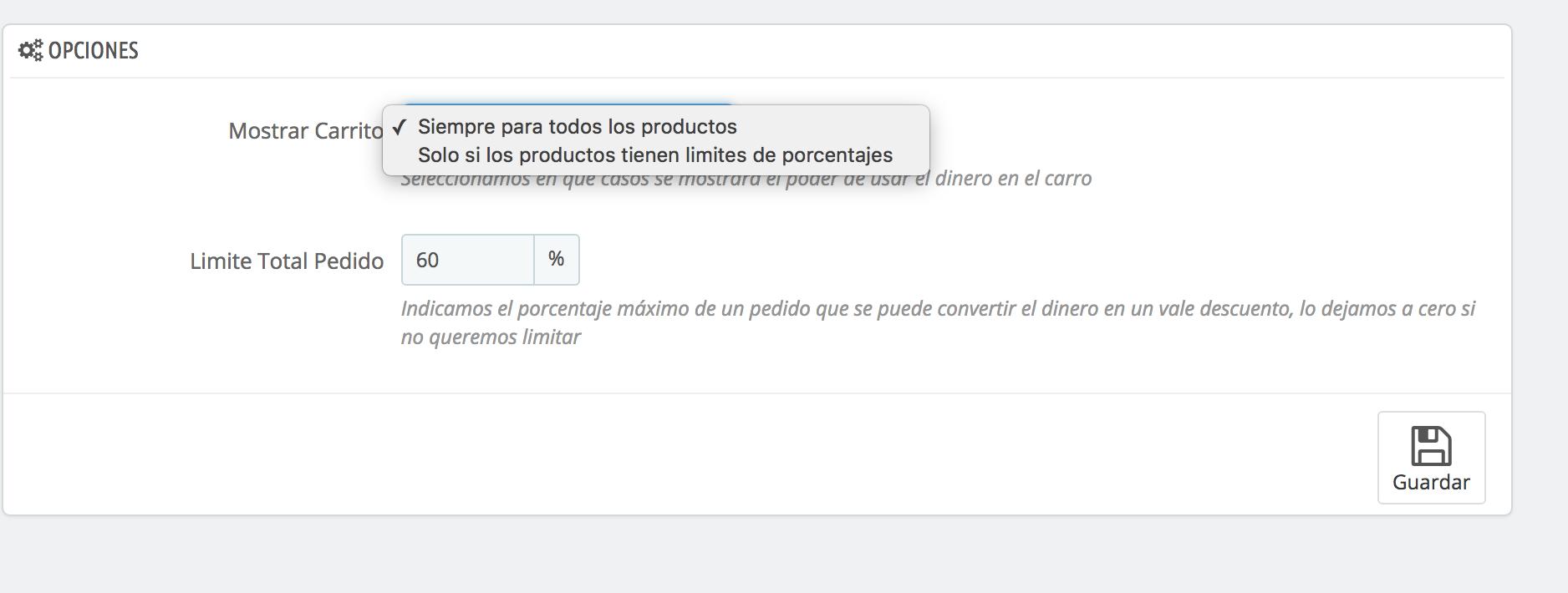 configura donde mostrar la informacion de emoney y el porcentaje general