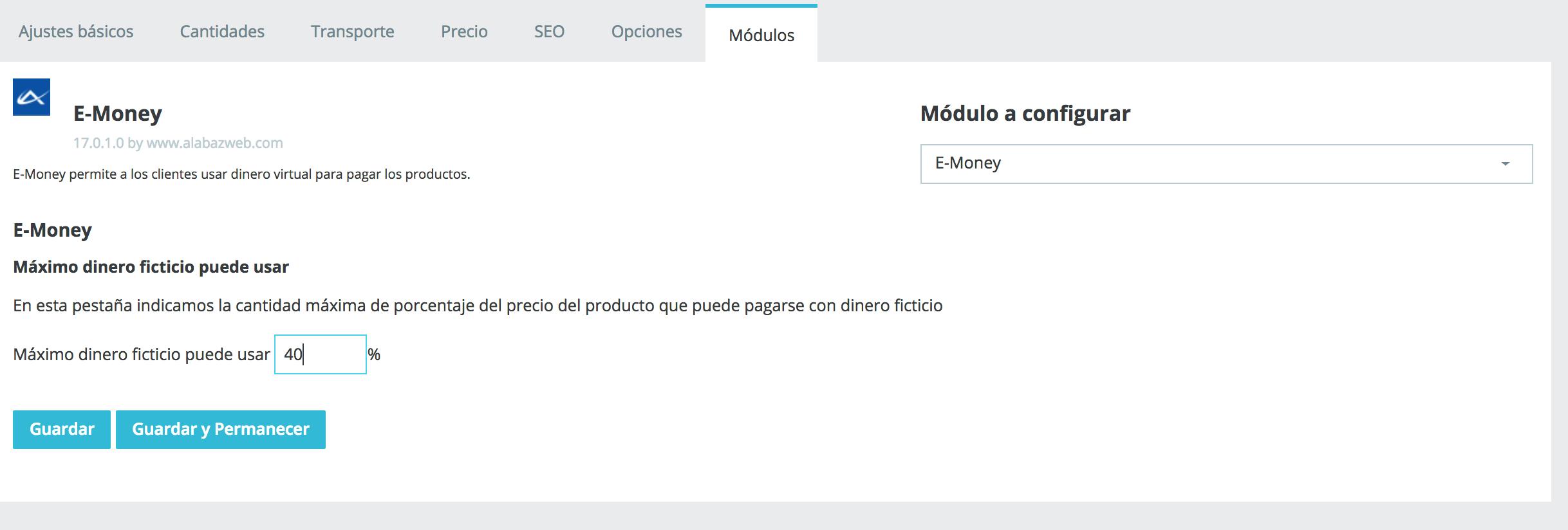 configura el modulo emoney desde la pagina de producto