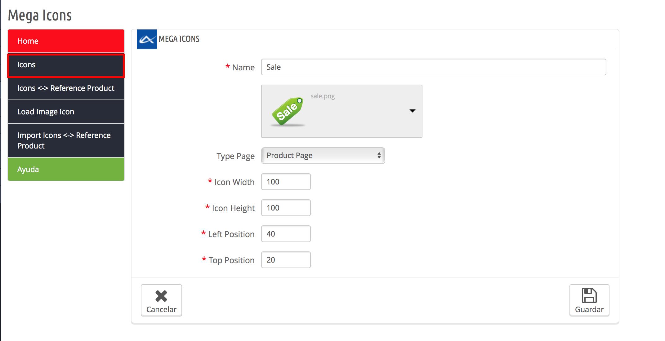Affiche l'état d'un produit au moyen d'icônes