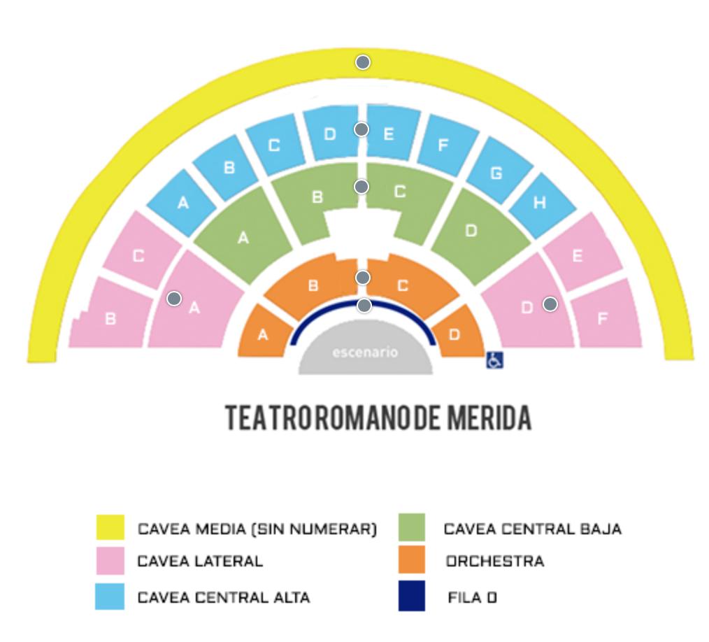 mapa zonas de asientos teatro romano de merida