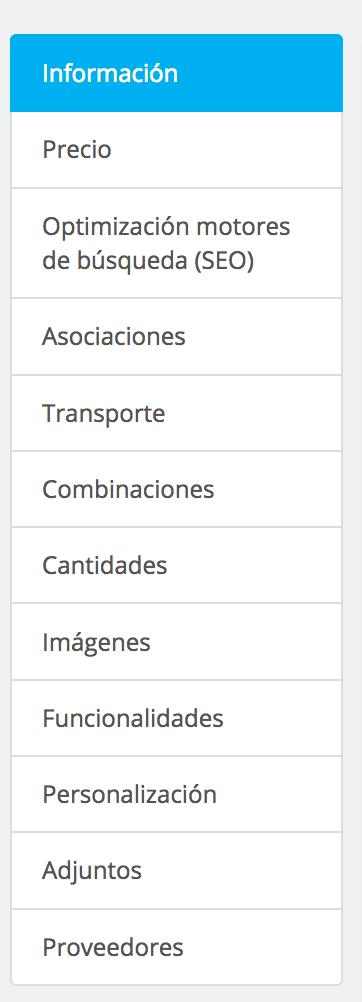el menu en 1.6 es mas complejo y con mas pestanas