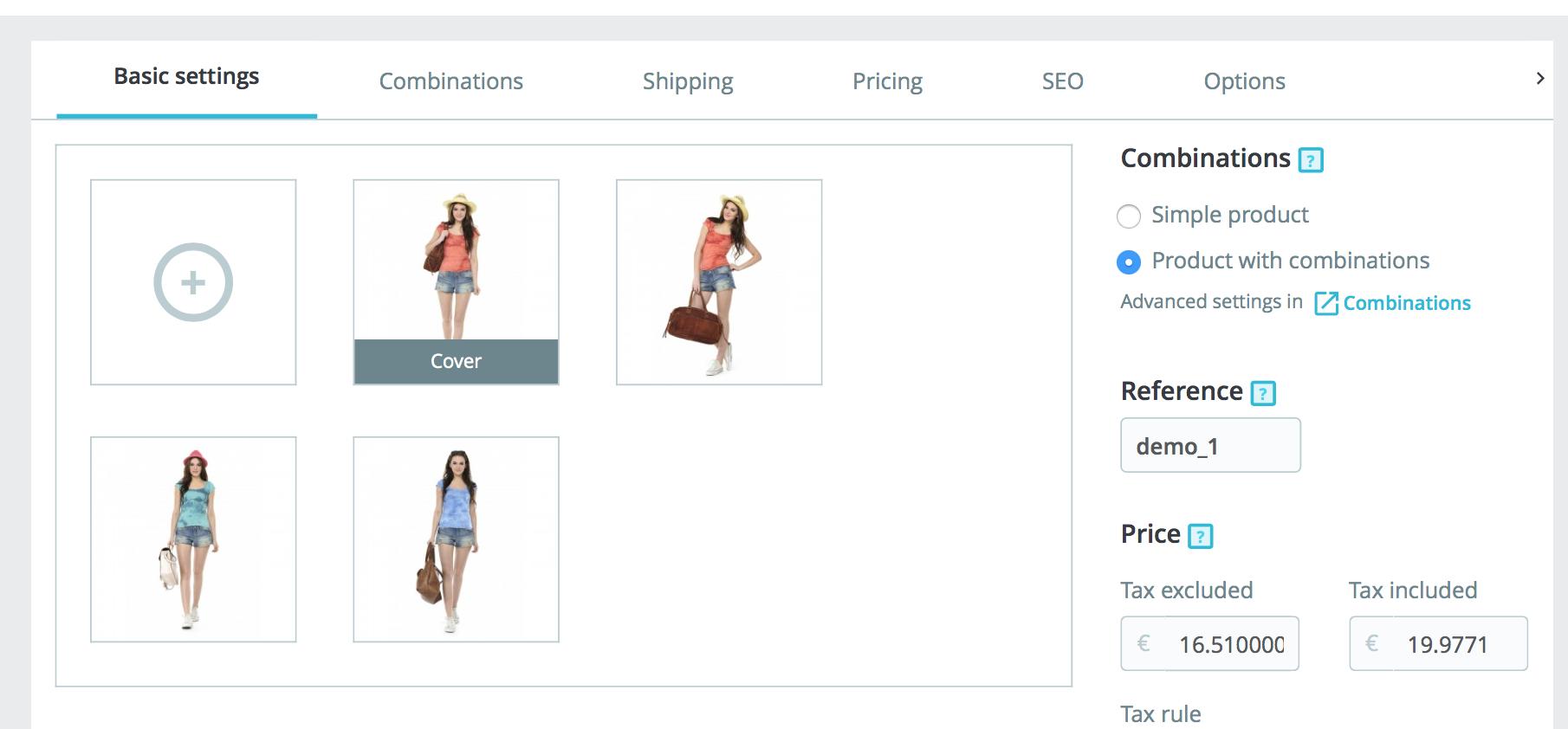 el menu de productos en 1.7 es mas compacto y sencillo