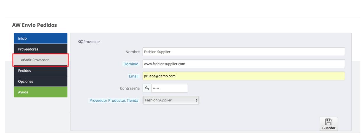 configura un nuevo proveedor para enviar tus pedidos