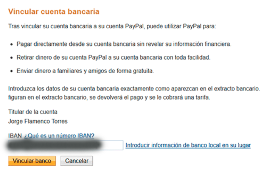 indicated in IBAN of your bank account to PayPal